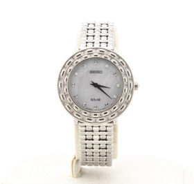 Seiko Women's Tressia Silver Tone Stainless Steel 36 Diamond Solar Watch SUP373