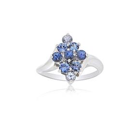 14K White Gold Blue Topaz Flower Ring 12002635