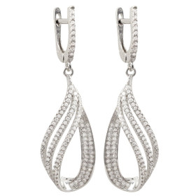 Rhodium Plated Sterling Silver CZ Open Teardrop Design Earrings