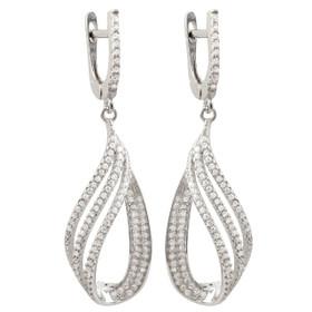 Rhodium Plated Sterling Silver CZ Open Teardrop Design Earrings