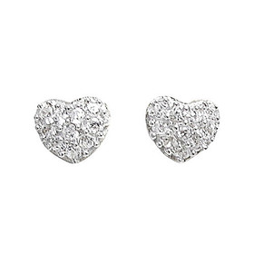Rhodium Plated Sterling Silver Heart Cubic Zirconia Screw back Post Stud Earrings 84210194