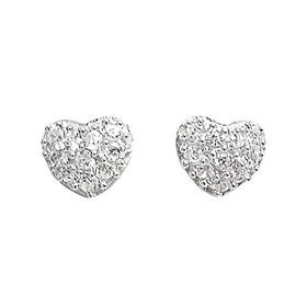 Rhodium Plated Sterling Silver Heart Cubic Zirconia Screw back Post Stud Earrings 84210194