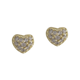 Gold Plated Sterling Silver Heart Cubic Zirconia Screw back Post Stud Earrings 84210196
