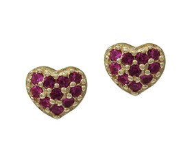 Gold Plated Sterling Silver With Created Ruby Stones Screw back Post Stud Earrings 84210195