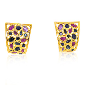 Fancy 18k Yellow Gold Emerald /Ruby /Sapphire Post earrings 42002821