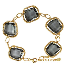 "Gold Plated Silver  Grey Faceted Sliced Glass Stones CZ 7"" Bracelet"