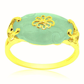 14K Yellow Gold Oval Jade Ring 12002649