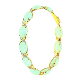 14K Yellow Gold Huggies And Kisses Jade 7 Inches Bracelet 22000752