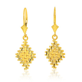14K Yellow Gold Riccio Lever Back Hanging Earrings 40002349