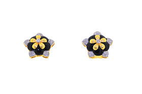 14K Yellow Gold Flower Onyx And Diamond Omega Earrings 42002820