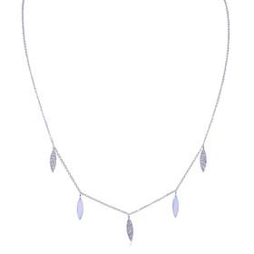 "14K White Gold 0.25 Carat Diamond Drops 18"" Pave Pendant Necklace 31000767 (Adjustable)"