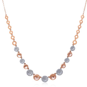 "14K Pink Gold With White 0.51 Carat Diamond Drops 18"" Pave Pendant Necklace 31000769 (Adjustable)"