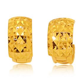 14K Yellow Gold Diamond Cut Huggies Earrings 40002351
