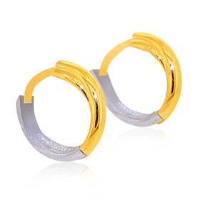 14K Two Tone Gold Twist Huggie Earrings 40002356