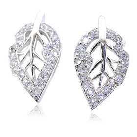 Sterling Silver Cubic Zirconia Leave Postback Earrings  84210201