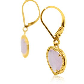 Gold Plated Sterling Silver Milky Pink Heart Cubic Zirconia Leverback Earrings 84210208