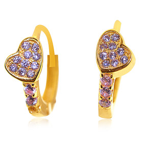 Gold Plated Sterling Silver Heart with Cubic Zirconia Huggie Earrings 84210212