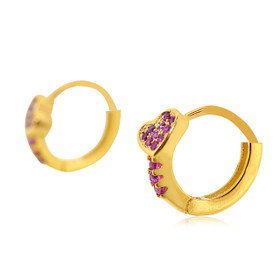 Gold Plated Sterling Silver Red Heart with Cubic Zirconia Huggie Earrings 84210213