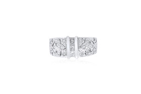 14K White Gold Fancy Band Diamond Ring 11005672