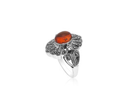Sterling Silver Amber Marcasite Ring  81210142
