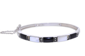 Sterling Silver Mother of Pearl Bangle With Safety Chain 82010640
