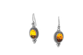 Sterling Silver Amber Oval Drop Earrings 84210175