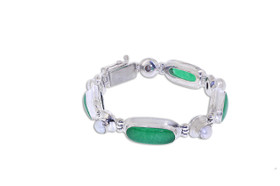 Sterling Silver Jade Bar Pearl Bracelet 82010639