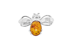 Sterling Silver Amber Bee Pin 85310002