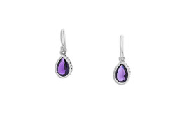 Sterling Silver Synthetic Amethyst Shepherd Wire hanging Earrings  84210176