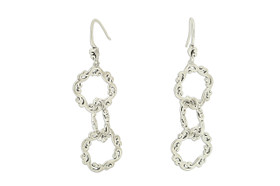 Sterling Silver Circles Shepherd Hanging Wire Earrings 84210358