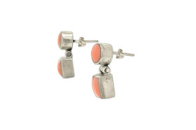 Sterling Silver Coral Hanging Push Back Earrings 84210117