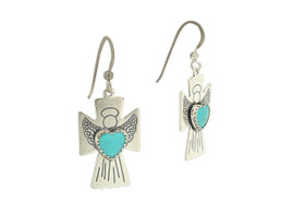 Sterling Silver Turquoise Angel Cross Shepherd Hanging Wire Earrings 84010359