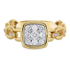 14K Yellow Gold Flexible Designer Diamond Ring