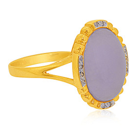 14K Yellow Gold Diamond Dyed Purple Jade Ring  12002655