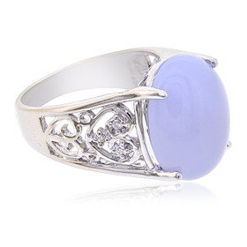 14K White Gold Diamond Oval Chalcedony Ring  12002656