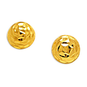 14K Yellow Gold Diamond Cut Half Ball Stud Earrings