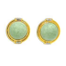 14K Yellow Gold Jade Diamond Post Back Button Earrings