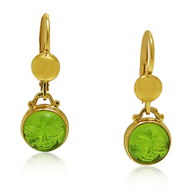14K Yellow Gold Peridot Lever Back Drop Earrings