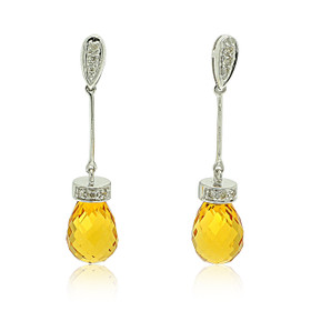 14K Yellow Gold Citrine and Diamond Hanging Post Back Earrings