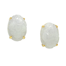 14K Yellow Gold Purple Jade Post Back Earrings