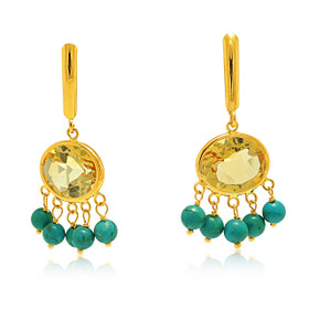 14K Yellow Gold Citrine and Turquise Lever Back Hanging Earrings