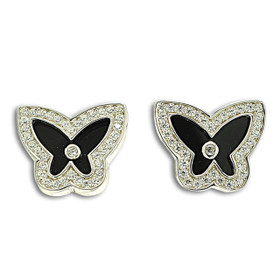 Sterling Silver Black Onyx Cubic Zirconia Butterfly Push Back Earrings