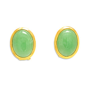 14K Yellow Gold  Oval Jade Omega Back Earrings
