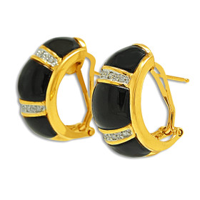 14K Yellow Gold Diamond and Onyx Omega Back Earrings