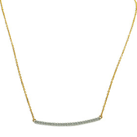 14K White and Yellow Gold Curved Diamond Bar Necklace