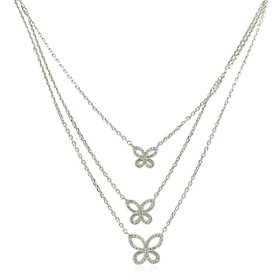14K White Gold Trio Butterfly Diamond Necklace