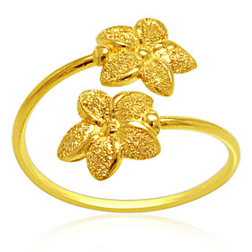 14K Yellow Gold Bypass Flower Ring