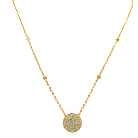 18K Yellow Gold Diamond Pave Circle Charm Necklace