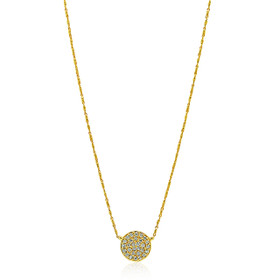 14K Yellow Gold Diamond Pave Circle Charm Necklace