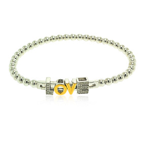 Sterling Silver Cubic Zirconia Love Beads Expension Bracelet